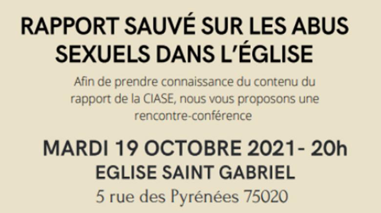 Rappel: conférence ce mardi 19 à 20h sur le rapport de la CIASE à l'Eglise St Gabriel!